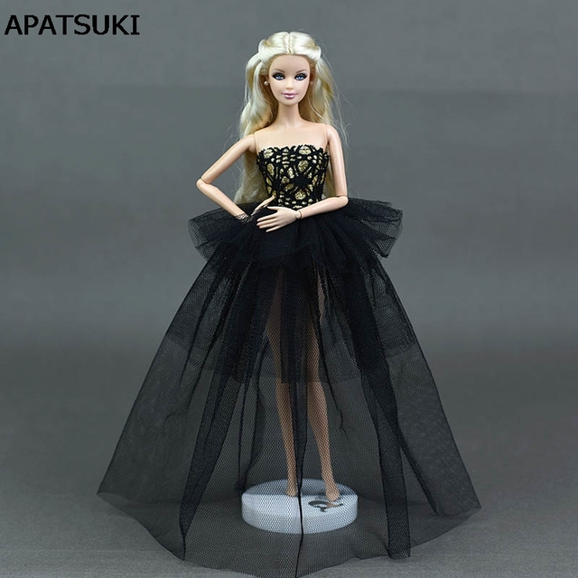 Black Doll Clothes For Barbie Princess Wedding Dress Noble Party ...