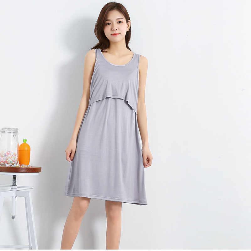 9cc3f50152de5 Summer Modal Sleeveless Nursing pregnant dress Breastfeeding Nursing Clothes  for pregnant women Maternity Dresses with pads