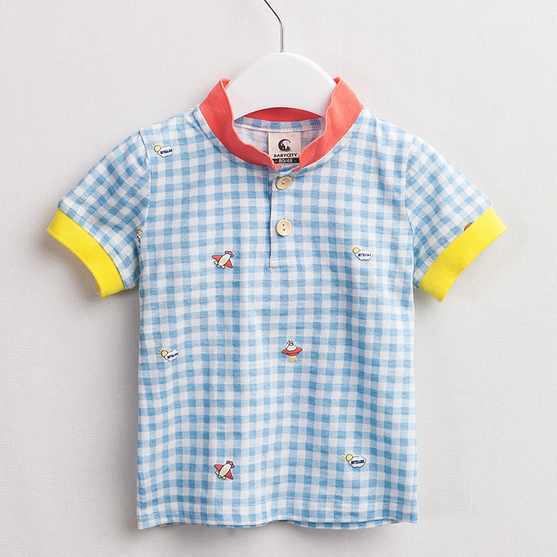Children Short-Sleeve T-Shirt Baby-Boys Kids Casual Summer New Plaid Cotton Outerwear
