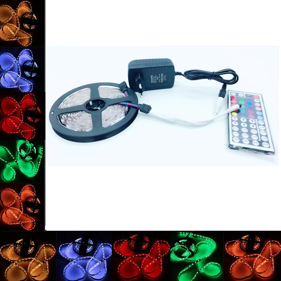 SMD RGB LED Strip Light waterproof 5050 60leds / m 220V led ribbon diode flexible ribbon DC 12V1m 4m 5m 10m power adapter set