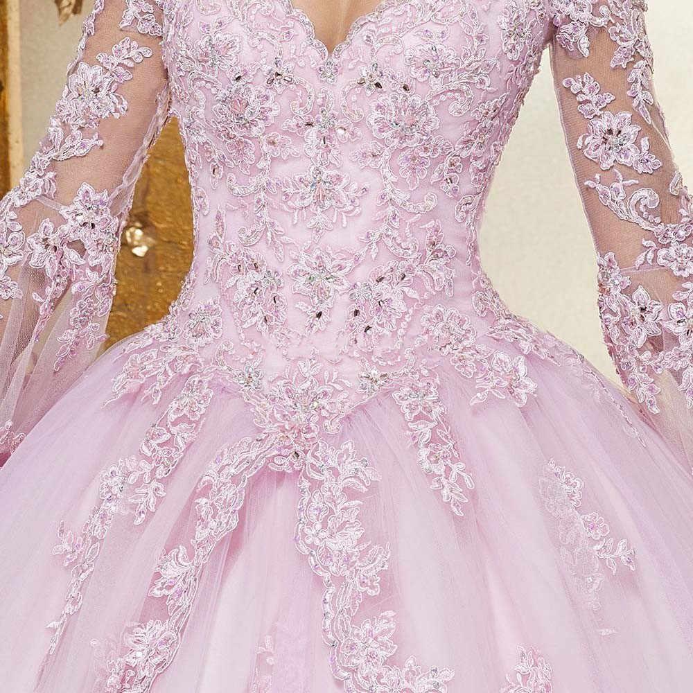 JaneVini 2019 элегантное Пышное Бальное платье розовые платья Quinceanera широкий длинный рукав аппликации из бисера платье-принцесса для выпускного вечера Vestidos 15 Anos; сезон лето