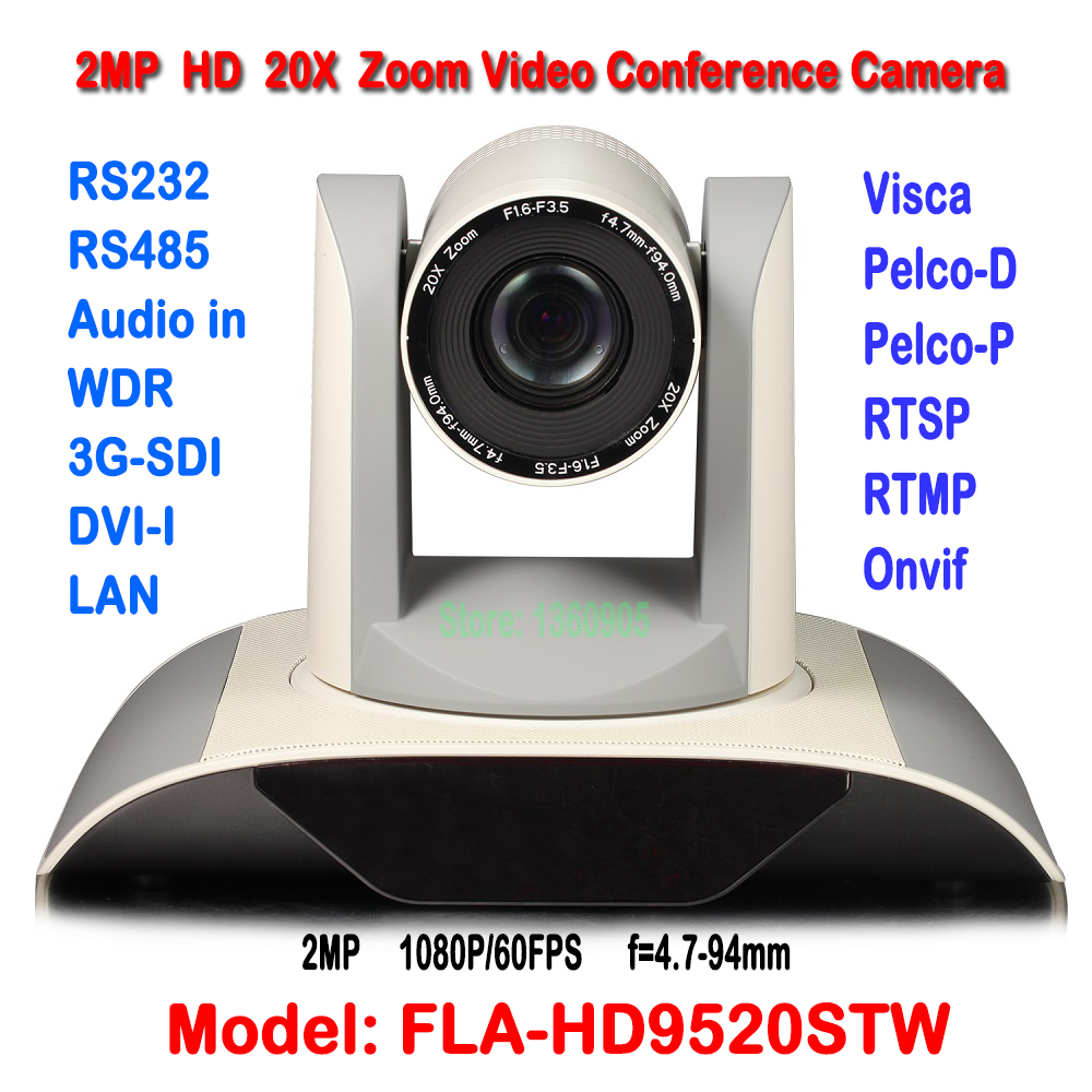 White Color 2.0MP Full-HD video setkání Fotoaparát HDSDI DVI IP Onvif 1/3 palce CMOS H.265 PTZ Konferenční kamera pro výslech