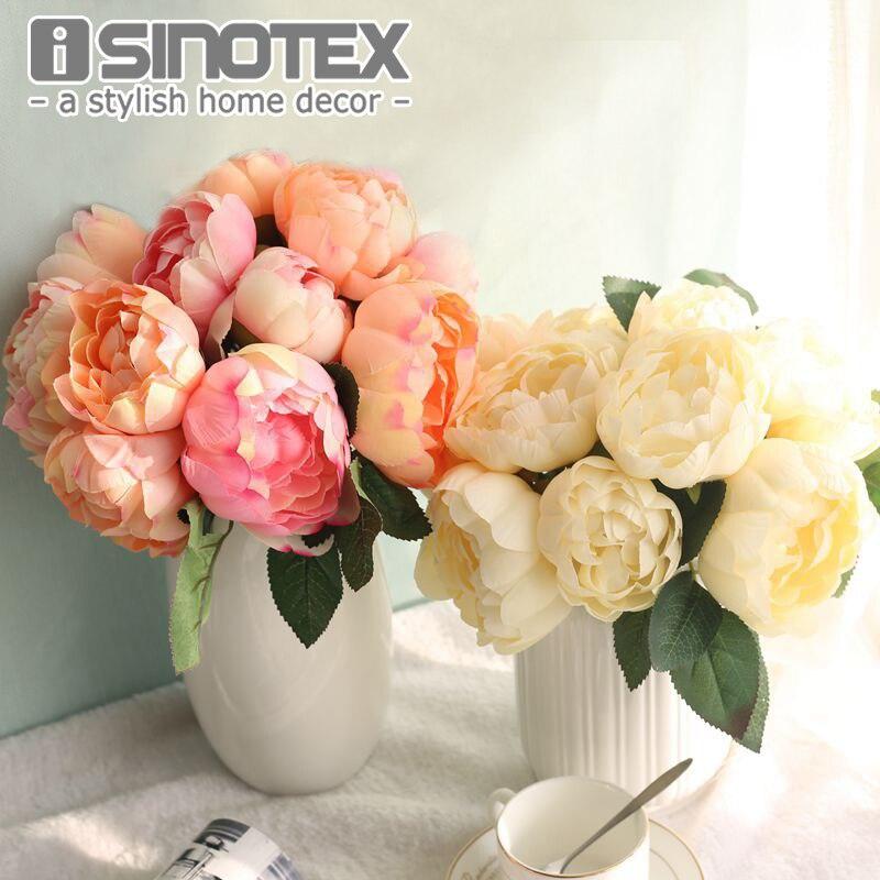 Seda Artificial Flores Peonías Manojo Flores Artificiales Ramo de Flores Accesor