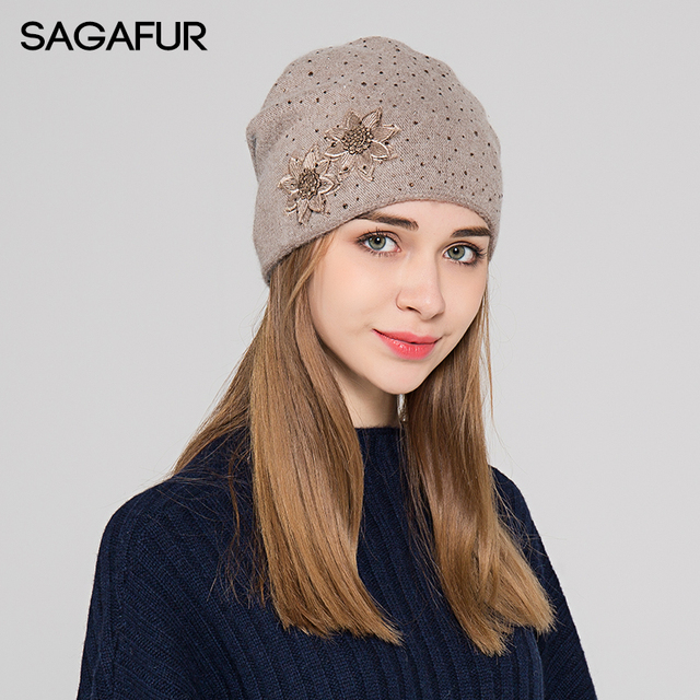 6be2e137b7b Thick Winter Knitted Hat Female 2018 Fashion Warm Cap Women s Cotton Wool  Bonnet Embroidery Flower Rhinestones Beanies For Lady