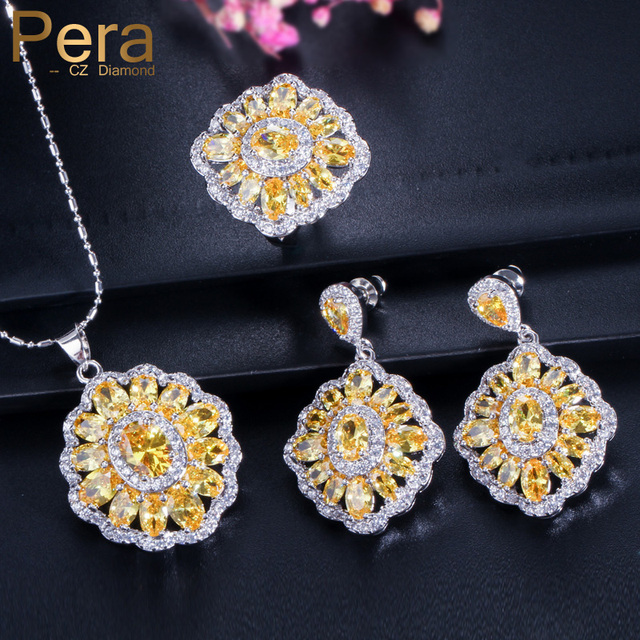 Pera Fashion Las 925 Sterling Silver Costume Jewelry Square Yellow Cubic Zirconia Necklace Earrings