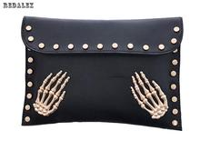 women's Pu Leather Messenger Bags European And American Style Skeleton Hand Day Clutch Bag Evening Bag Female Clutches Handbag