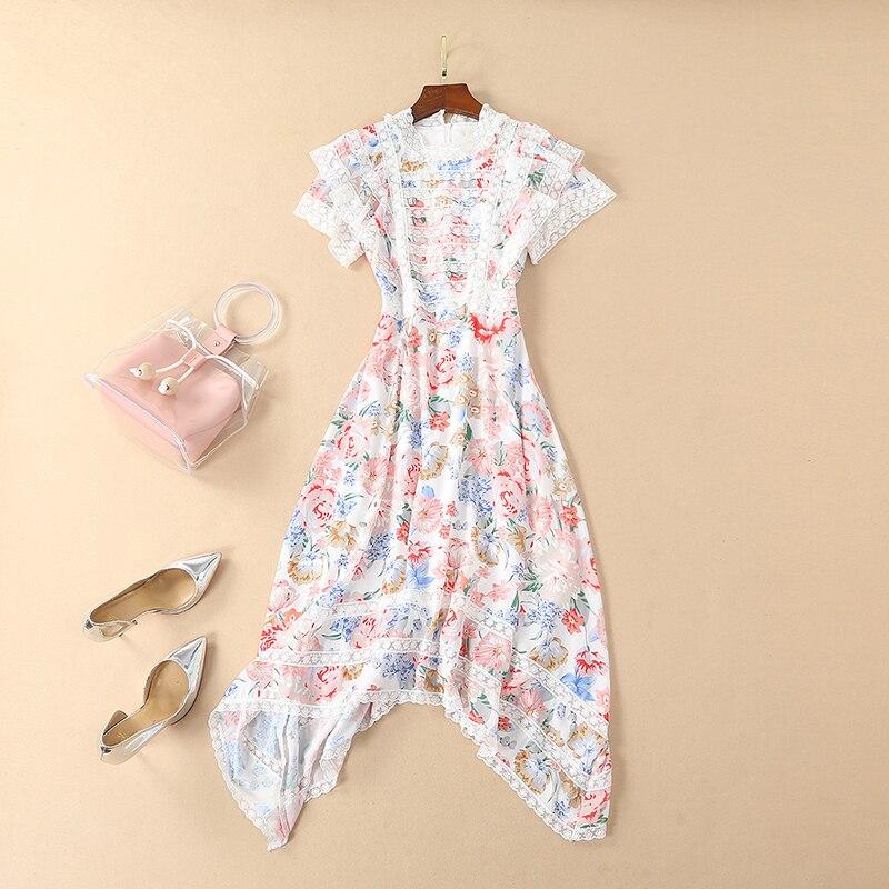 2019 Spring Pretty Print Irregular Dress High Quality Fashion Short Sleeve O neck Mid Calf Length