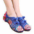 Hot Women shoes flat embroidered dance shoes Peking Mary Jane Flat Heel Denim Flats with Embroidery Casual Shoes Plus Size
