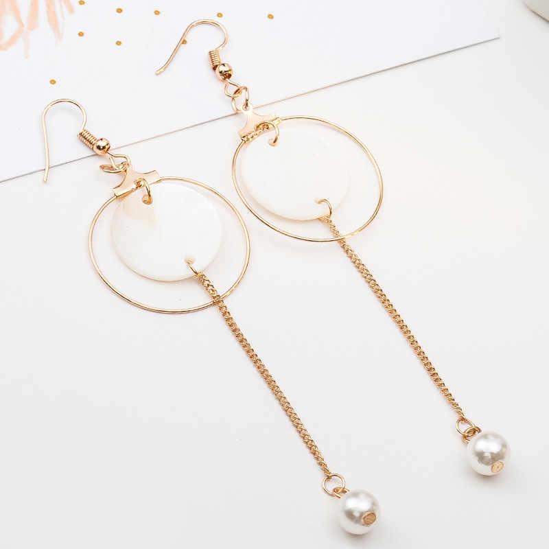 ゴールドシルバードロップイヤリングシェル模擬真珠ロングチェーンタッセルチャームラウンドサークル平方ブラブラ耳飾り女性耳アクセサリー