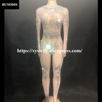 BU28401 Hot Sell Net Yarn Series Women Sexy Silver Diamond Bling Jumpsuit Glass Sparkling Crystals Bodysuit Fit Nightclub Party