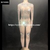 BU28401 Hot Sell Net Yarn Series Women Sexy Silver Diamond Bling Jumpsuit Sparkling Crystals Bodysuit Fit Nightclub Party