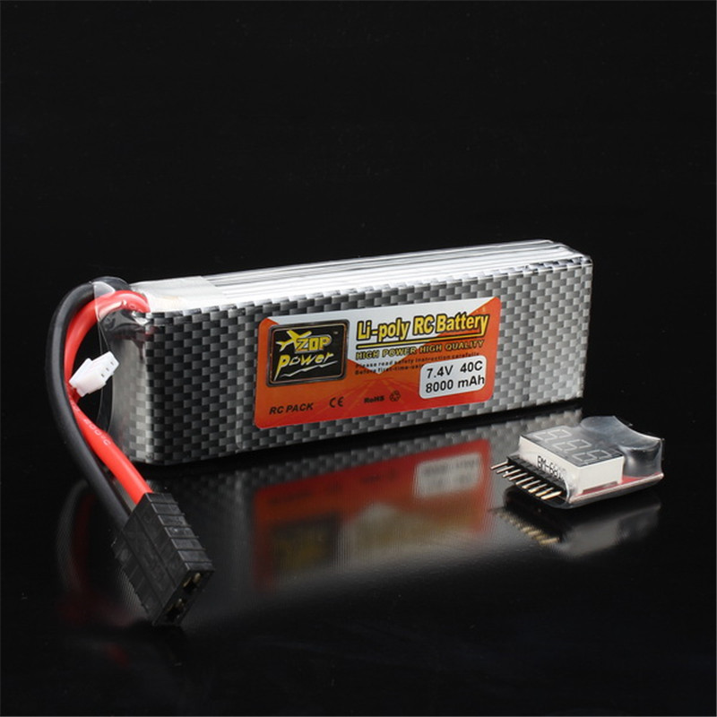 ZOP Power 7.4V 8000mAh 2S 40C Lipo Battery Rechargeable For TRX Plug Connector Battery Alarm Indicator Traxxas RC Multicopter