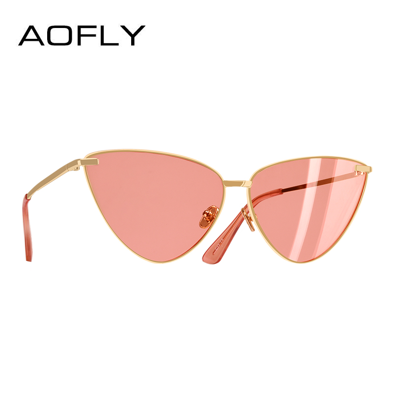 bde3719de88 AOFLY BRAND DESIGN Sexy Ladies Cat Eye Sunglasses Fashion Metal Frame Sunglasses  Women Metal Frame UV400