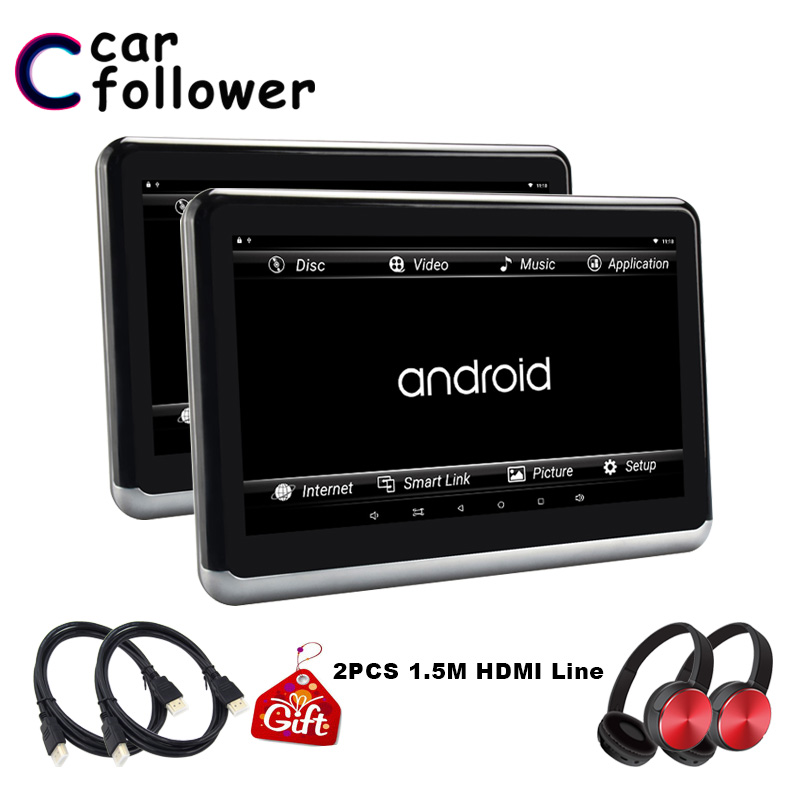 10.1 Inch Android 6.0 Car Headrest Monitor 2pcs Hd Touch Screen 1080p Fm Wifi Bluetooth Usb Sd With Hdmi Output Video Mp5 Player