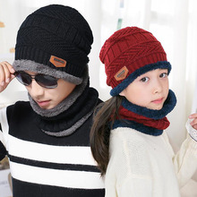 SUOGRY Hot Sale 2pcs Ski Cap and Warm Leather Scarf Cold Winter Hat For Women Men Knitted Skullies Bonnet Parent-child Caps
