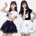 2017 new loose women T-shirt Sexy dress student skirt two-piece cat printing college wind Peng Peng skirt lovely girl tops tees
