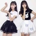 2017 nova loose women T-shirt Sexy saia estudante vestido two-piece gato impressão colégio vento Peng Peng saia linda menina cobre tees