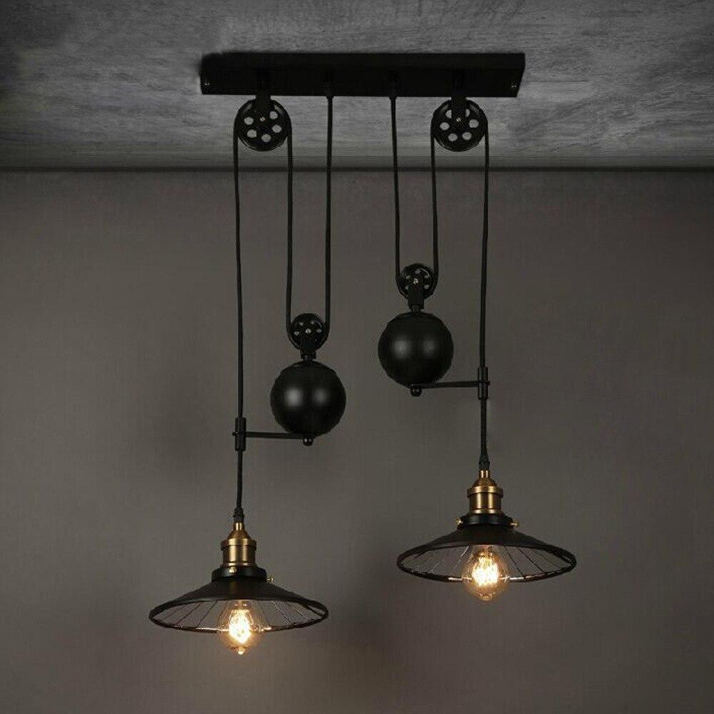 Loft Vintage Rétro En Fer Forgé Lustre Noir Poulie Réglable Lampes Industrielles E27 Edison Pendentif 2 Lampe Luminaires