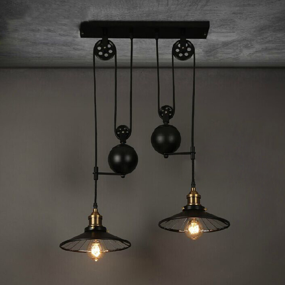 Loft Vintage Retrò In Ferro Battuto Nero Lampadario Puleggia Regolabile Industriale Lampade E27 Edison Pendente 2 Lamp Casa Light Fixtures