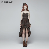 Punk Rave Steampunk Pleated Victorian Party Casual Fashion Ruffles Sexy Sleeveless Backless Women Dress WQ390