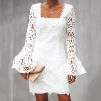 Summer Sexy White Simple Boho Travel Beach Women Mini Dresses 2019 Bodycon Flare Sleeve Plain Party Sweet Backless Lace Dress