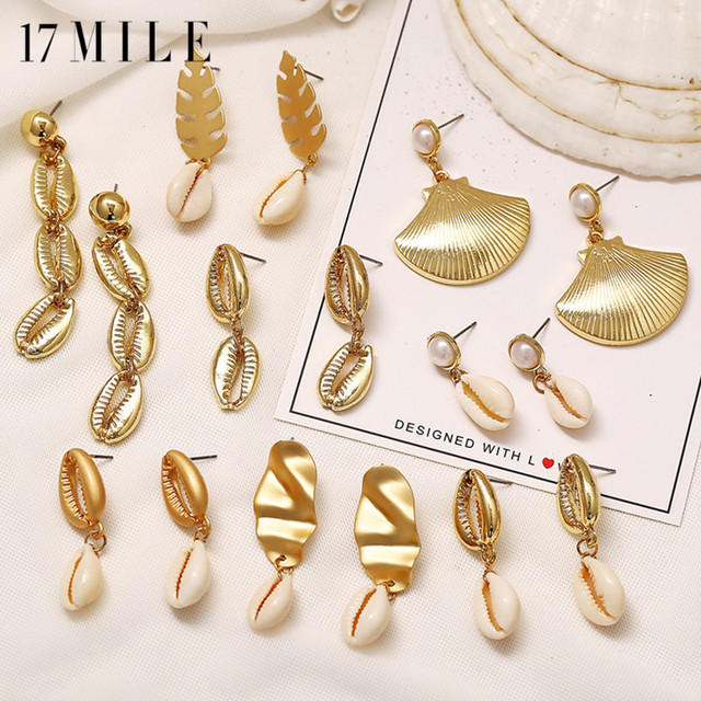 caa16d776 17MILE Bohemian Shell Drop Earrings For Women 2019 Vintage Gold Color  Dangle Earring Fashion Geometric Handmade Jewelry Gifts