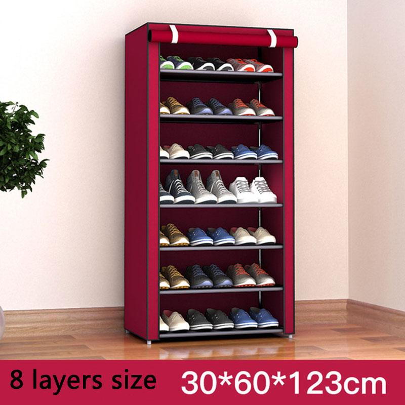 Multi-layer DIY Combination Dust-proof Cloth Shoe Cabinet Folding Fabric Shoes Rack Organizer Simple Shoe Storage Cabinet 2