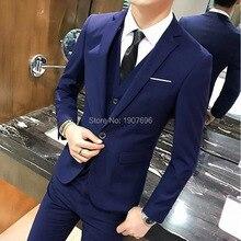 Blue Slim Fit Men Suits for Wedding Party Groom Tuxedo 2018 Three Piece Jacket Pants Vest Latest Style Blazer