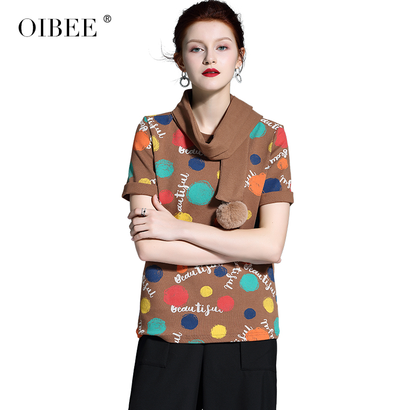 OIBEE2019 primavera mujer nueva moda impresión Rosa Camiseta de manga corta Camisa bufanda camisa de dos piezas - 2