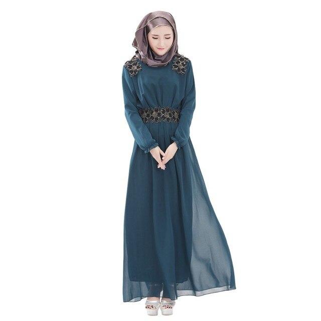 Женская Ретро Кафтан Абая Исламский Мусульманин С Длинным Рукавом Шифон Длиной Макси Платье