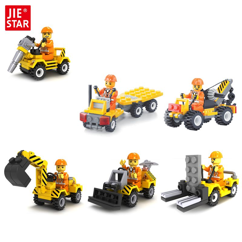 JIE-STAR City Engineering Series Building Blocks Toys for Children Kids Educational Blocks Toys Best Christmas Gift for Boys jie star fire ladder truck 3 kinds deformations city fire series building block toys for children diy assembled block toy 22024