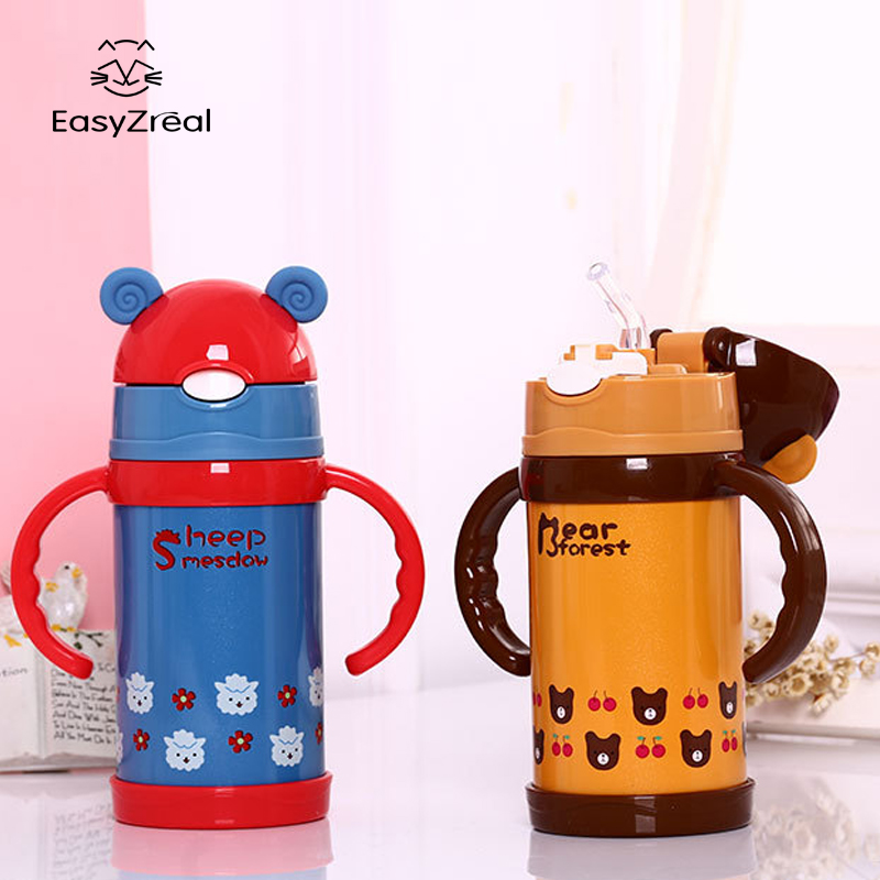 300ml High Quality Kids Vacuum Water Bottle Silicone Straw Stainless Steel Children Tea Thermos Mug Thermal Bottle Cup Thermocup
