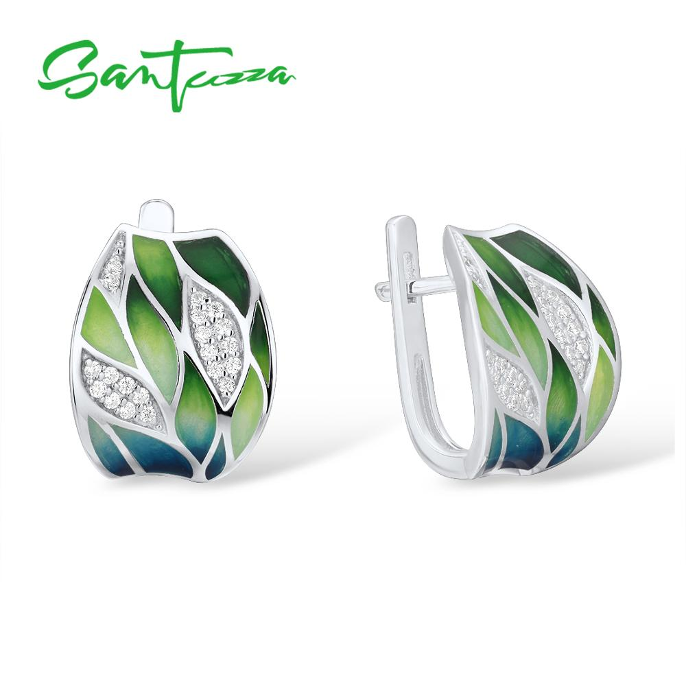 SANTUZZA Silver Earrings Fine-Jewelry Bamboo-Leaves 925-Sterling-Silver Women Genuine title=