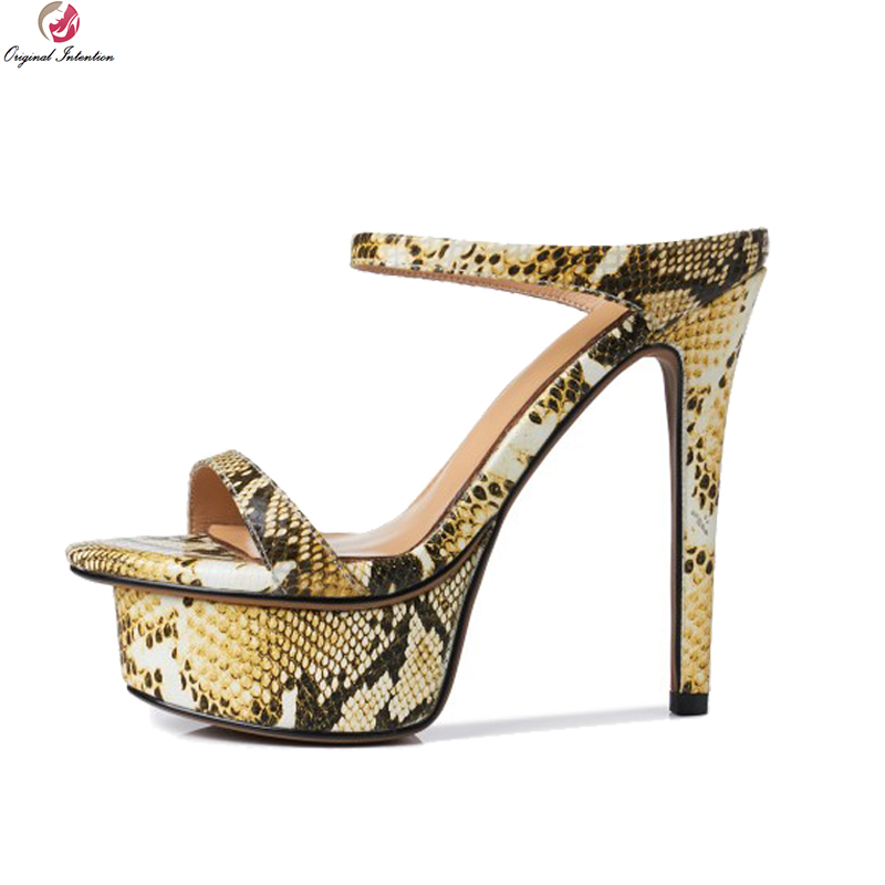 Original Intention Sexy Women Sandals Real Leather Open Toe Thin High Heels Sandals Gold Silver Snake Shoes Woman US Size 3-9 2018 fashion women pumps sexy open toe heels sandals woman sandals thick with women shoes high heels s144