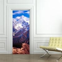 Snow Mountains Door Wall Stickers Bedroom Home Decoration Poster PVC Waterproof Door Stickers Imitation 3D Decal