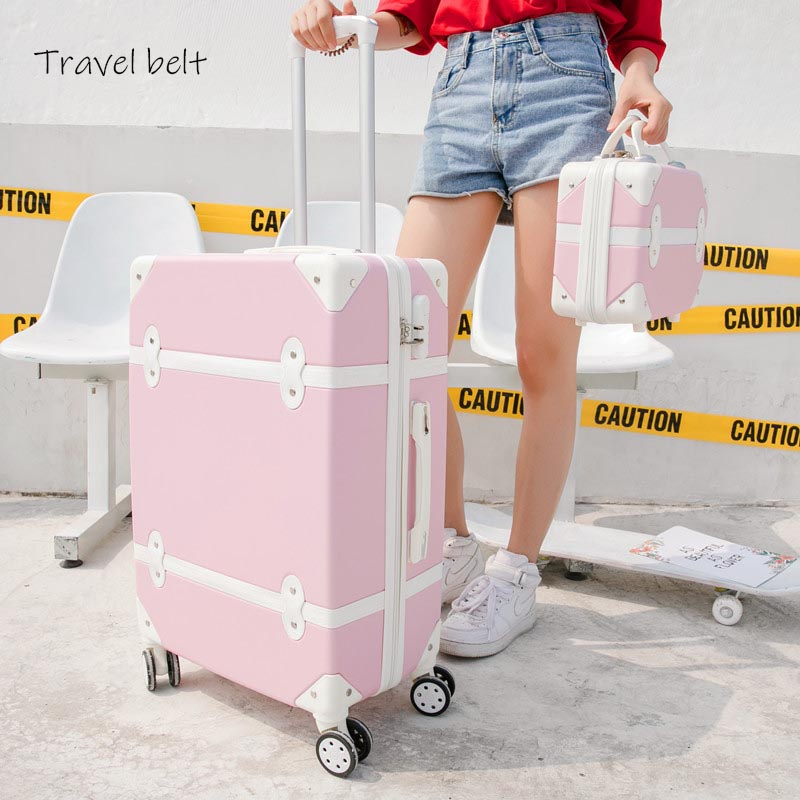 Travel Belt Korean Retro Women Rolling Luggage Sets Spinner ABS Students Travel Bags 20 Inch Cabin Password Suitcase Wheels