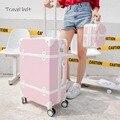 Путешествия пояса в Корейском стиле ретро Для женщин Rolling багажные наборы Spinner ABS студентов дорожные сумки 20 дюймов Cabin пароль чемодан колеса