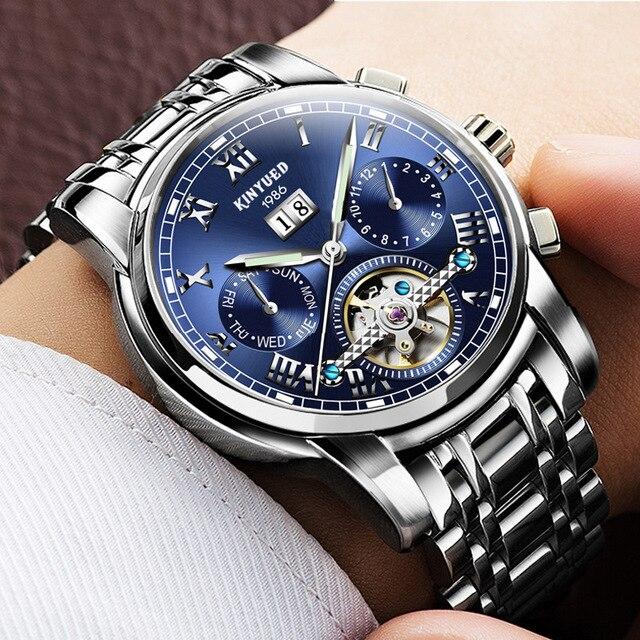 KINYUED Top Luxury Brand Classic Men's Watches Mechanical Wristwatch Sapphire Stainless Steel Gentleman Watch Fashion Man Clock