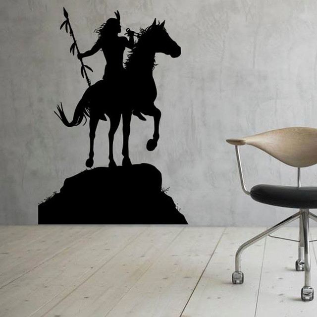 Native American Indian Wall Decals Vinyl Art Sticker Horse Rider Wall  Stickers Home Decoration Waterproof