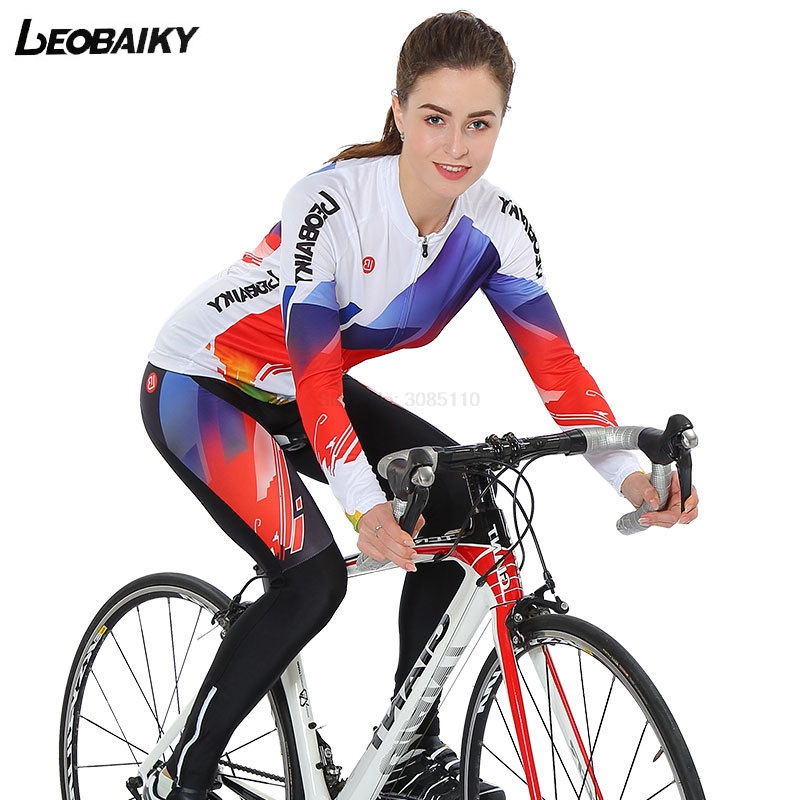 LEOBAIKY Spring Summer Men's Long Sleeve Cycling Jersey Sets Breathable 4D Padded Bicycle Sportswear Cycling Clothings MTB 2017 wosawe men s long sleeve cycling jersey sets breathable gel padded mtb tights sportswear for all season cycling clothings