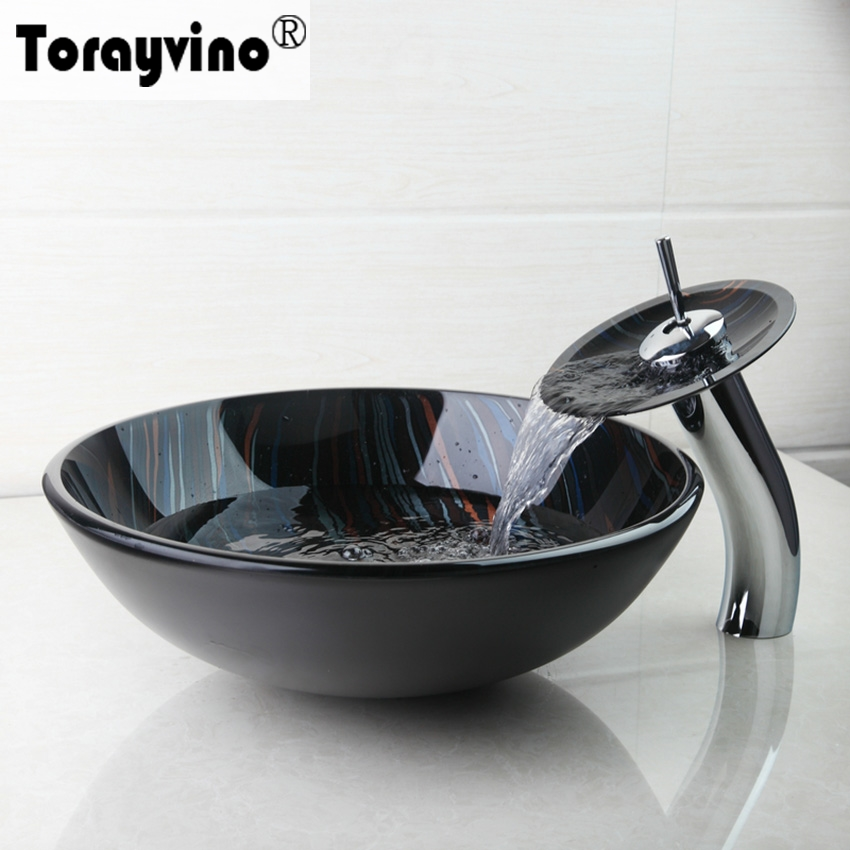 Torayvino Hand Painting Tempered Glass Basin Bowl Sinks Vessel Basins With Brass Faucet Taps,Water Drain Bathroom Sink Set new vintage style antique brass bathroom vessel sink drain basin push down pop up drain with overflow solid brass 4310