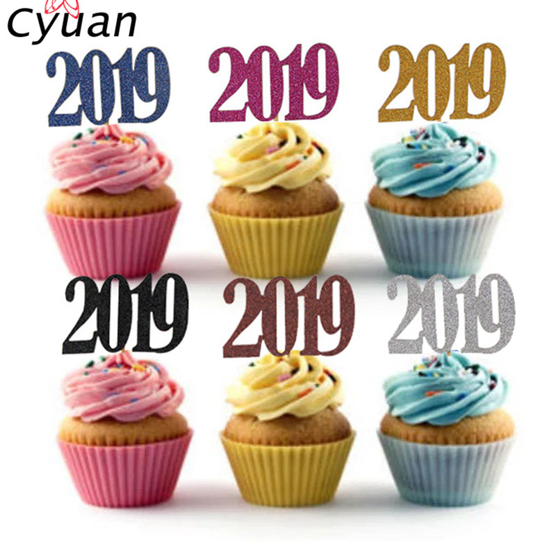 cyuan glitter 2019 happy new year cupcake toppers cake decorating topper kids new year christmas party gift event party supplies in cake decorating supplies