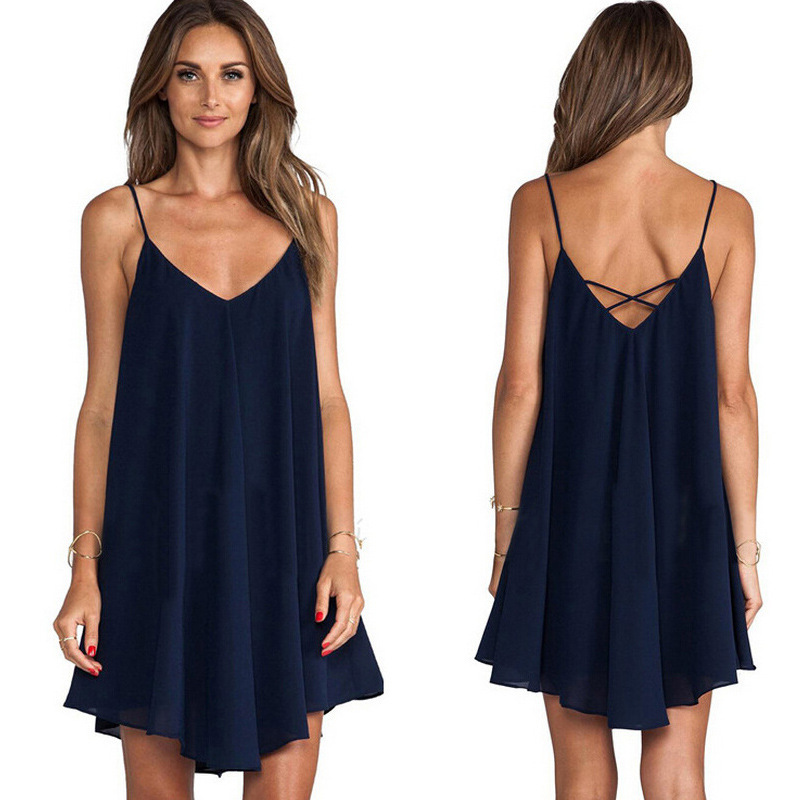 2020 Summer Big-size Chiffon <font><b>6XL</b></font> <font><b>Sexy</b></font> Loose Suspender <font><b>Dress</b></font> Sleeveless Spaghetti Strap V-Neck Dark Solid Color Women <font><b>Dresses</b></font> image