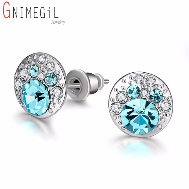 blue light earrings crystal aquamarine pin gift swarovski sky stud icy