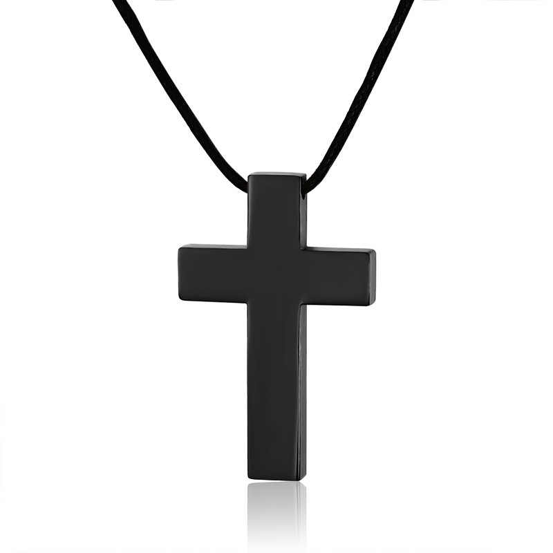 Modyle 2019 New HOT Sale Fashion Jewelry Men's Copper Stainless Steel Cross Pendant Charm Leather Necklace for men/women gift