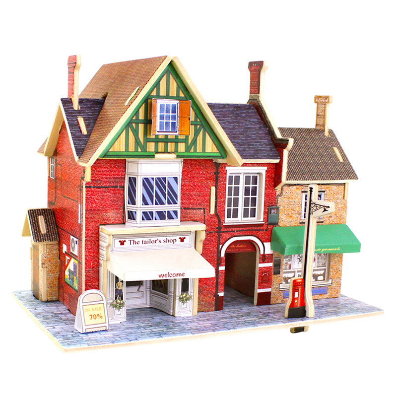 Robud 3D Vintage Britain Tailor Shop Puzzle Game Wooden Model Building Popular Educational Children Toys Hobbies F134
