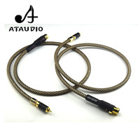 ATAUDIO Hifi Xlr buchse auf Cinch stecker kabel Hallo end Silber Überzogene 2XLR RCA Kabel mit gold überzogene stecker auf