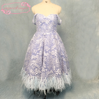blue prom dresses with feather lace a line sweetheart neckline beading sequins women party dresses tea length evening dresses