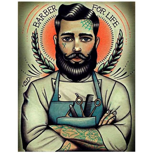 Brand new Vintage Hairdresser Tattoos Patterned Posters Kraft paper Interior  GG66