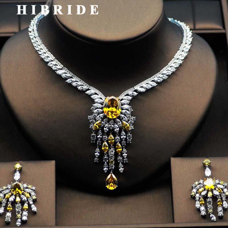 HIBRIDE High Quality Big Flower Shape Women Bridal Jewelry Set Yellow Rhinestone Necklace Set For Female